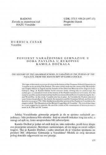 Povijest varaždinske gimnazije u doba pavlina u rukopisu Kamila Dočkala : Radovi Zavoda za znanstveni rad Varaždin