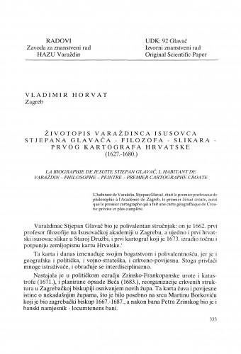 Životopis varaždinca isusovca Stjepana Glavača - filozofa - slikara - prvog kartografa Hrvatske (1627.-1680.) : Radovi Zavoda za znanstveni rad Varaždin