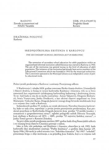 Srednjoškolska ekstenza u Karlovcu : Radovi Zavoda za znanstveni rad Varaždin