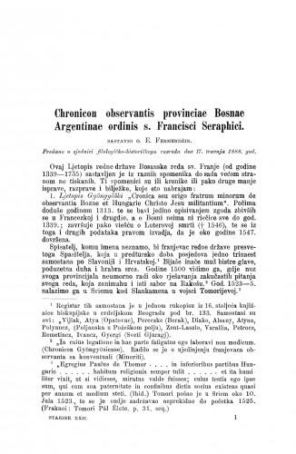 Chronicon observantis provinciae Bosnae Argentinae ordinis s. Francisci Seraphici / Euzebije Fermendžin