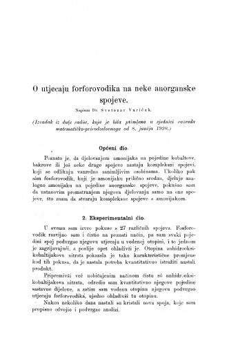 O utjecaju fosforovodika na neke anorganske spojeve