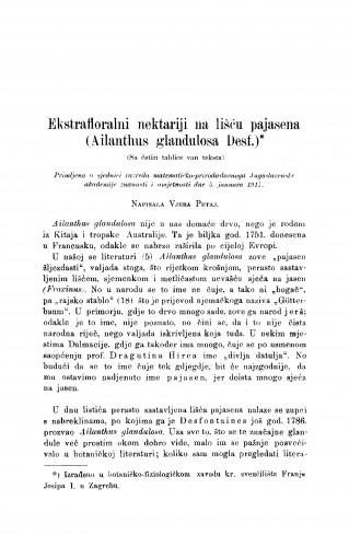 Ekstrafloralni nektariji na lišću pajasena (Ailanthus glandulosa Desf.)