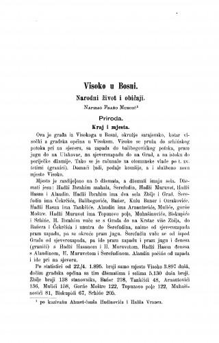 Visoko u Bosni. : narodni život i običaji. / F. Murgić