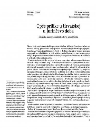 Opće prilike u Hrvatskoj u Jurinčevo doba