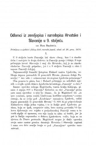 Odlomci iz zemljopisa i narodopisa Hrvatske i Slavonije u 9. stoljeću : RAD