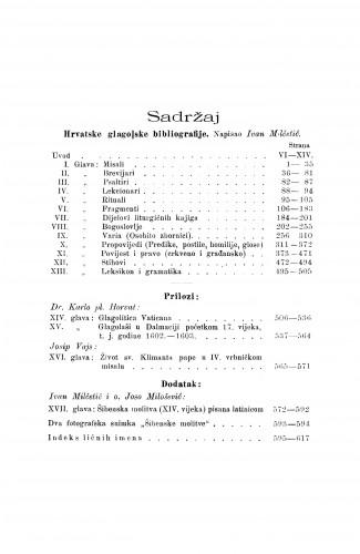 Hrvatska glagolska bibliografija : dio 1. Opisi rukopisa / Ivan Milčetić