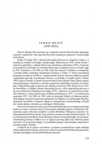 Jerko Bezić (1929.-2010.) : nekrolog : Ljetopis