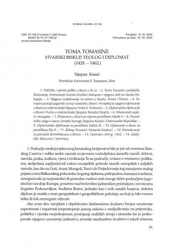 Toma Tomasini, hvarski biskup, teolog i diplomat (1429.-1462.) / Stjepan Krasić