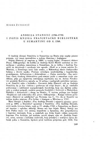 Andrija Staničić (1706-1778) i popis knjiga franjevačke biblioteke u Sumartinu od g. 1769. / Andre Jutronić