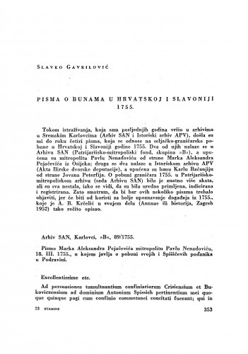Pisma o bunama u Hrvatskoj i Slavoniji 1755. / Slavko Gavrilović
