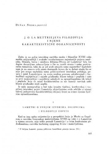 J. O. La Mettriejeva filozofija i njene karakteristične ograničenosti
