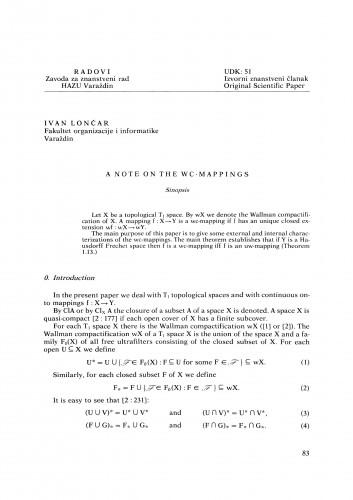 A note on the wc-mappings : Radovi Zavoda za znanstveni rad Varaždin