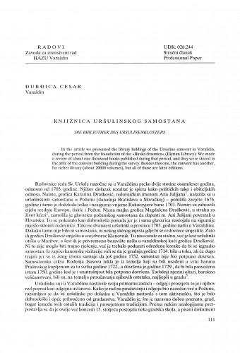 Knjižnica Uršulinskog samostana : Radovi Zavoda za znanstveni rad Varaždin