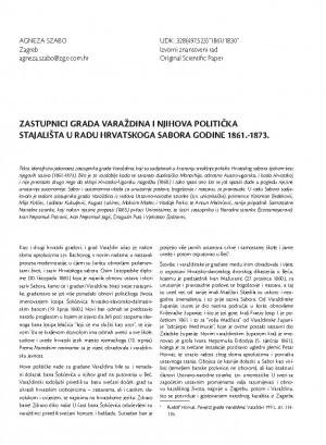 Zastupnici grada Varaždina i njihova politička stajališta u radu Hrvatskoga sabora godine 1861.-1873.