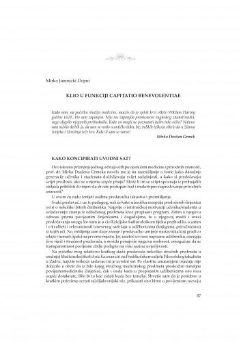Klio u funkciji capitatio benevolentiae : Rasprave i građa za povijest znanosti