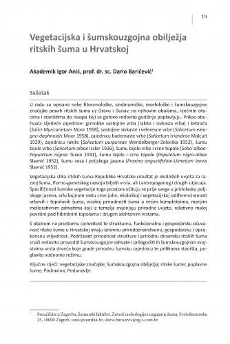 Vegetacijska i šumskouzgojna obilježja ritskih šuma u Hrvatskoj : Posebna izdanja / Hrvatska akademija znanosti i umjetnosti, Centar za znanstveni rad u Vinkovcima