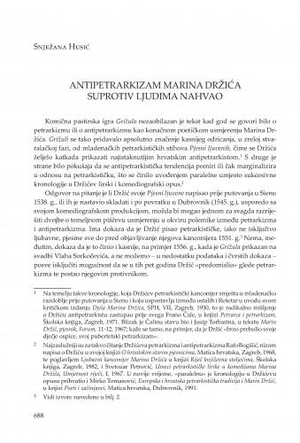 Antipetrarkizam Marina Držića suprotiv ljudima nahvao
