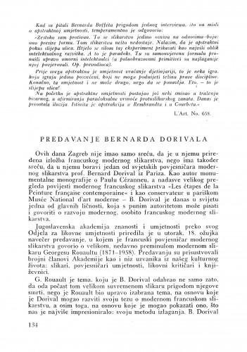 Predavanje Bernarda Dorivala : Bulletin Instituta za likovne umjetnosti Jugoslavenske akademije znanosti i umjetnosti