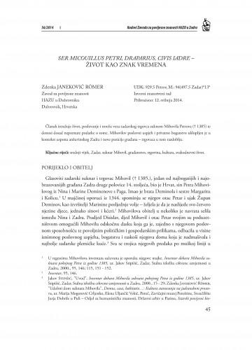 Ser Micouillus Petri, Draparius, civis Iadre - život kao znak vremena : Radovi Zavoda za povijesne znanosti HAZU u Zadru