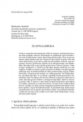 Zlatna jabuka : Filologija : časopis Razreda za filološke znanosti Hrvatske akademije znanosti i umjetnosti