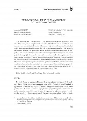 Djelovanje Zvonimira Požgaja u Zadru od 1946. do 1949. godine : Radovi Zavoda za povijesne znanosti HAZU u Zadru