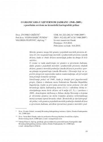 O granicama u sjevernom Jadranu (1948.-2009.) : s posebnim osvrtom na kronološki kartografski prikaz : Poredbeno pomorsko pravo