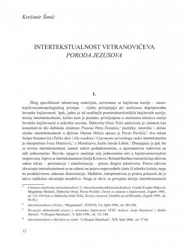 Intertekstualnost Veteranovićeva Poroda Jezusova : Krležini dani u Osijeku