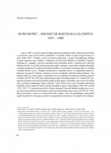Đuro Rošić - kritički kroničar riječkoga glumišta 1955 - 1980 : Krležini dani u Osijeku