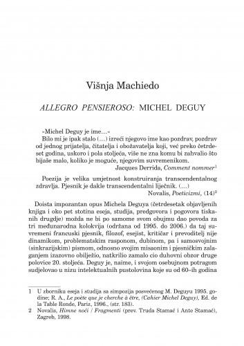 Allegro pensieroso: Michel Deguy : Forum : mjesečnik Razreda za književnost Hrvatske akademije znanosti i umjetnosti.