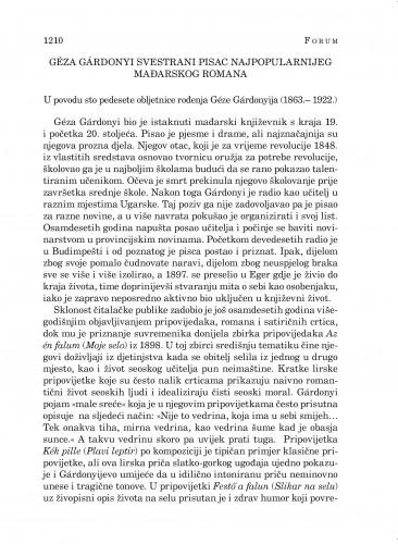 Géza Gárdonyi svestrani pisac najpopularnijeg mađarskog romana : Forum : mjesečnik Razreda za književnost Hrvatske akademije znanosti i umjetnosti.