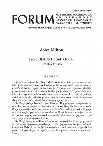Izgubljeni raj (1667.) : knjiga treća : Forum : mjesečnik Razreda za književnost Hrvatske akademije znanosti i umjetnosti.