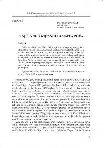 Književnopovijesni rad Matka Peića : Radovi Zavoda za znanstveni i umjetnički rad u Požegi