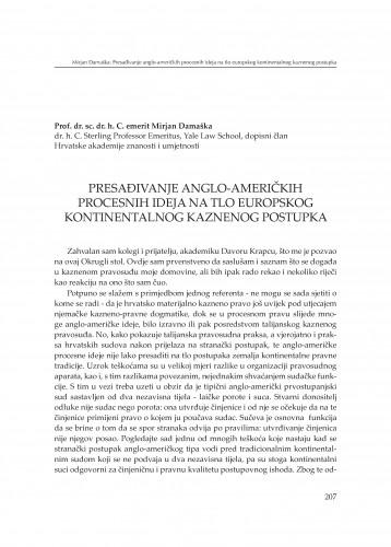 Presađivanje anglo-američkih procesnih ideja na tlo europskog kontinentalnog kaznenog postupka : [izlaganje] : Modernizacija prava