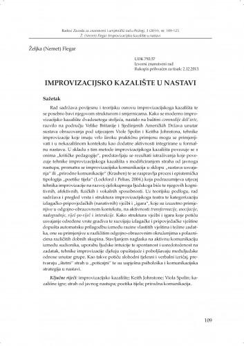 Improvizacijsko kazalište u nastavi : Radovi Zavoda za znanstveni i umjetnički rad u Požegi