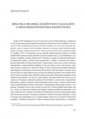 Hrvatska dramska književnost i kazalište u hrvatskim povijestima književnosti : Krležini dani u Osijeku