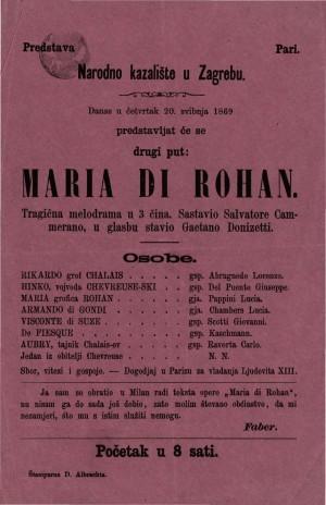 Maria di Rohan : tragična melodrama u tri čina
