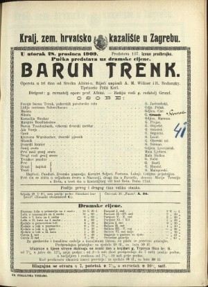 Barun Trenk : Opereta u tri čina