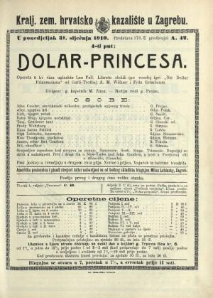 Dolar-princesa Opereta u tri čina / Prema veseloj igri Gatti-Trotha Die Dollarprinzessin  =  Dolar-princeza; Princesa dolara; Die Dollarprinzessin