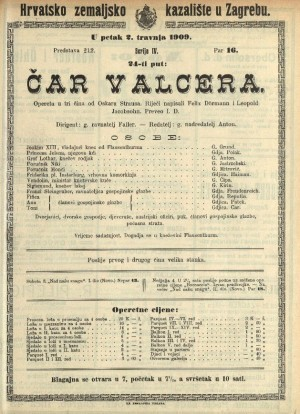 Čar valcera Opereta u tri čina / Prema noveli Hansa Müllera iz zbirke Buch der Abenteur  =  Ein Walzertraum
