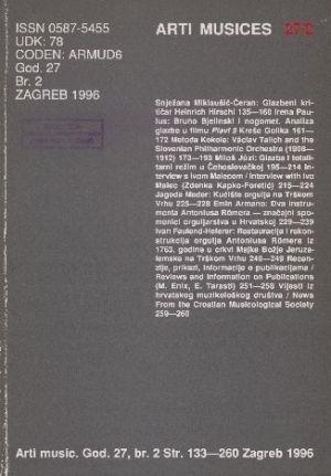 God. 27(1996), br. 2 : Arti musices