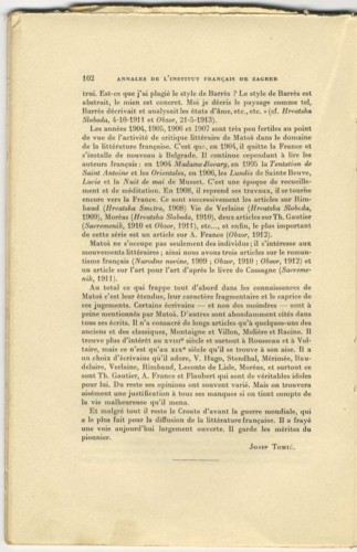 A.-G. Matoš et la littérature française