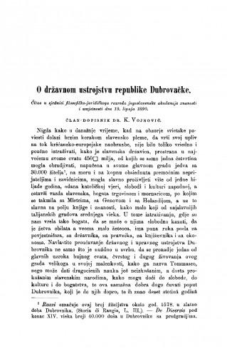 O državnom ustrojstvu republike Dubrovačke