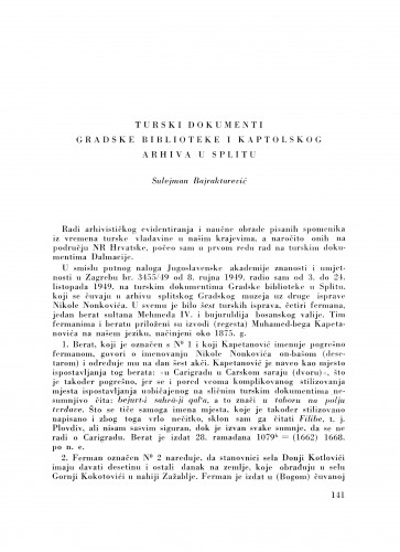 Turski dokumenti gradske biblioteke i Kaptolskog arhiva u Splitu / S. Bajraktarević