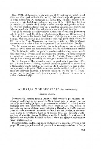 Andrija Mohorovičić kao meteorolog / B. Maksić