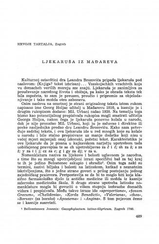 Ljekaruša iz Mađareva / H. Tartalja