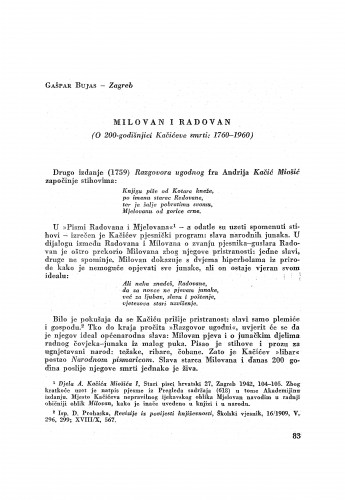 Milovan i Radovan : (O 200-godišnjici Kačićeve smrti: 1760-1960) / G. Bujas