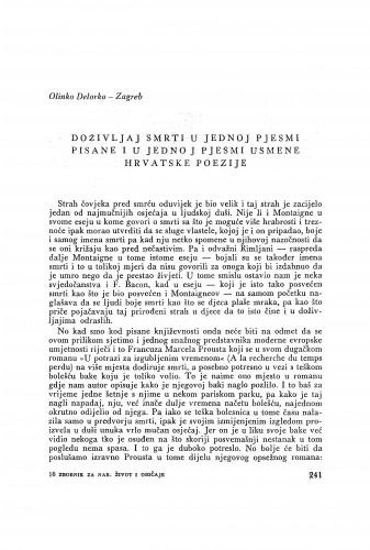 Doživljaji smrti u jednoj pjesmi pisane i u jednoj pjesmi usmene hrvatske poezije / O. Delorko