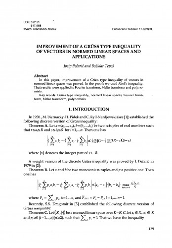 Improvement of a Grüss type inequality of vectors in normed linear spaces and applications