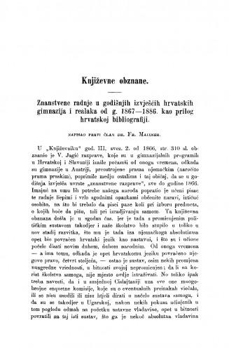 Znanstvene radnje u godišnjih izvješćih hrvatskih gimnazija i realka od g. 1867-1886. kao prilog hrvatskoj bibliografiji
