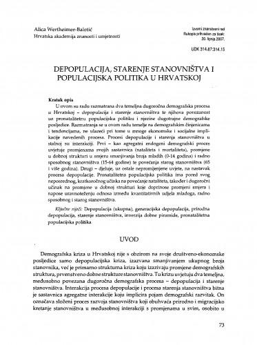 Depopulacija, starenje stanovništva i populacijska politika u Hrvatskoj